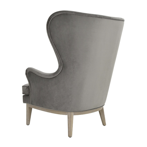 Frisco Grey wing chair back side view