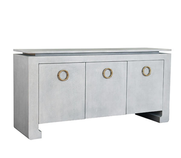 Tilley light Grey faux shagreen cabinet angle view