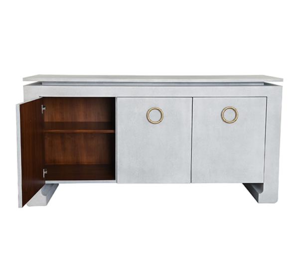 Tilley light Grey faux shagreen cabinet open door view