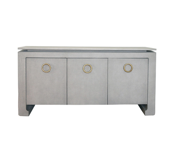 Tilley Tailored Grey Grasscloth buffet straight view