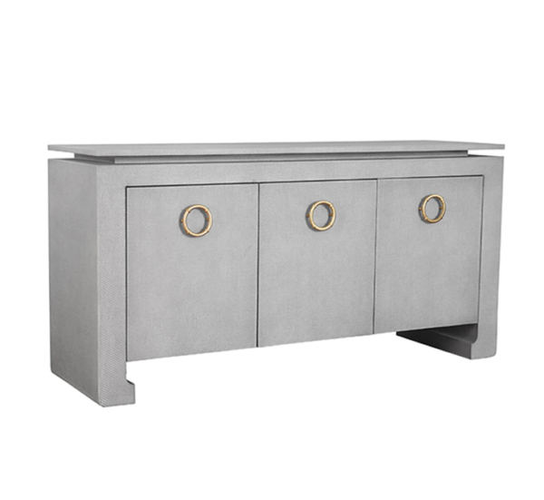 Tilley Tailored Grey Grasscloth buffet angle view