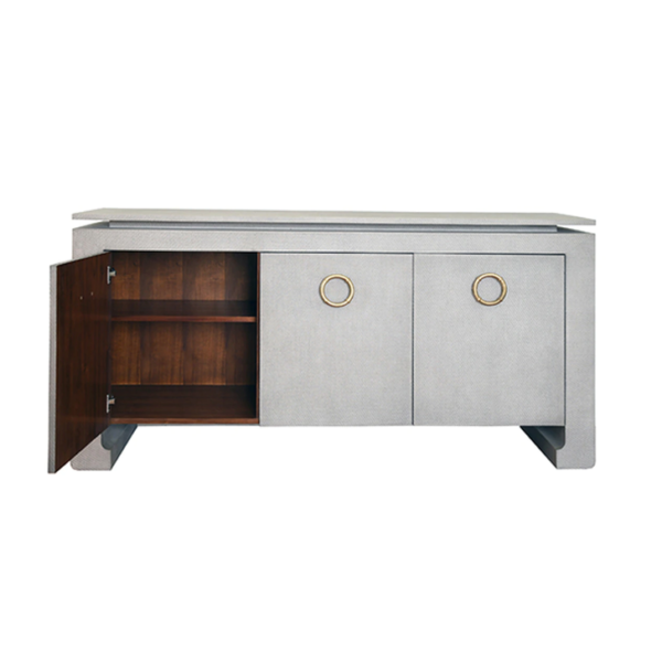 Tilley Tailored Grey Grasscloth buffet open door view