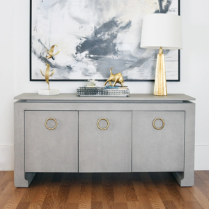 Tilley Tailored Grey Grasscloth buffet lifestyle photo