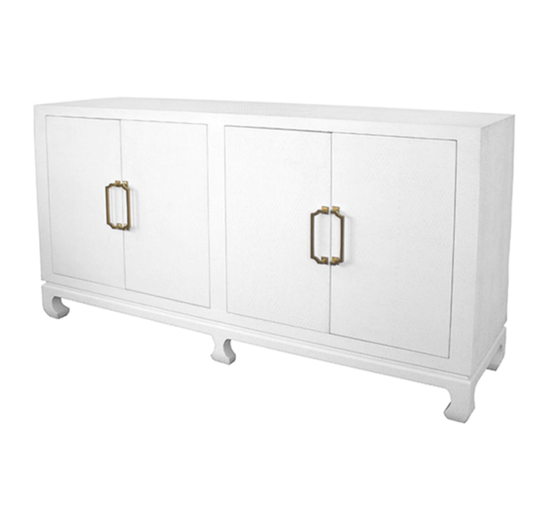 Basketweave Grasscloth Cabinet in White angled