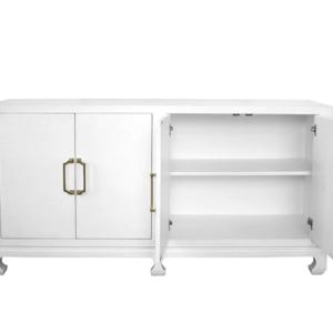 Basketweave Grasscloth Cabinet in White open doors