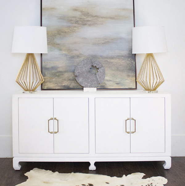 Basketweave Grasscloth Cabinet in White lifestyle view