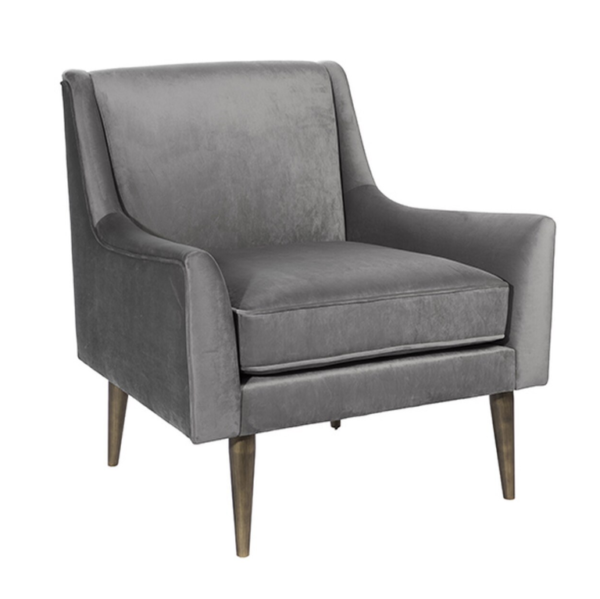Grey and Bronze Lounge chair angled view