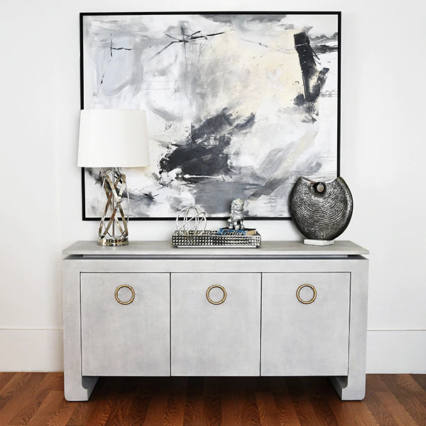 Tilley light Grey faux shagreen cabinet lifestyle