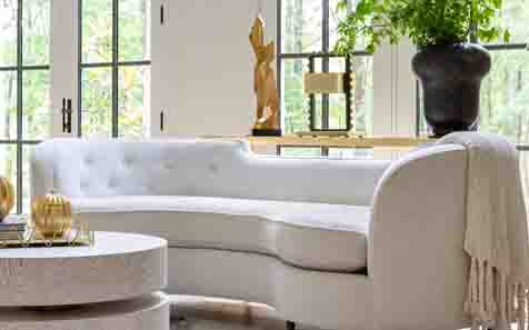 Sofa lifestyle image for blog on Performance fabrics.