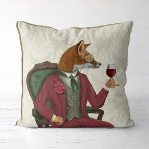 Fox Wine Taster pillow front view