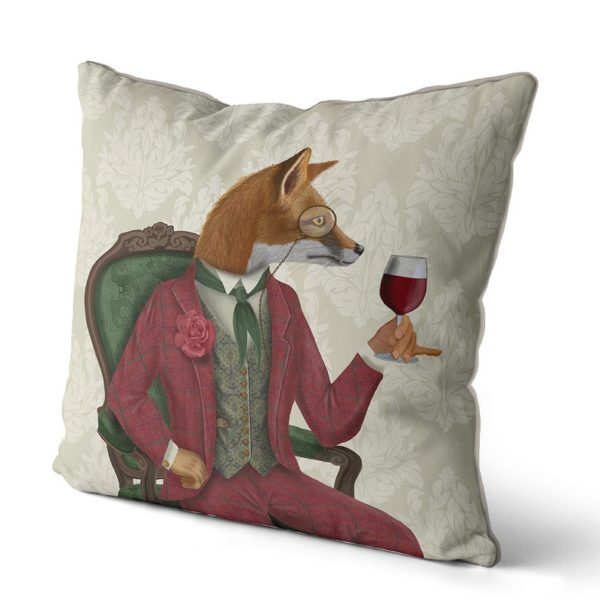 Fox Wine Taster pillow side angle