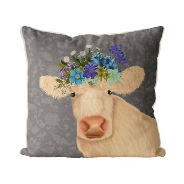 Bohemian Cow pillow front view