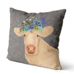 Bohemian Cow pillow side view