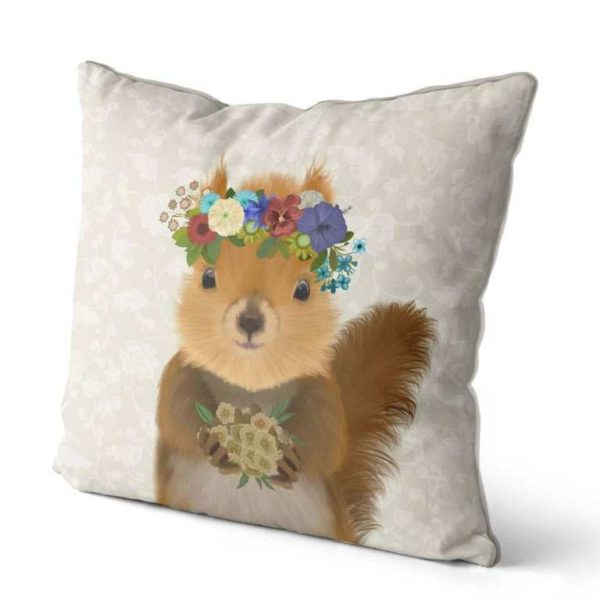 Bohemian Squirrel pillow side view