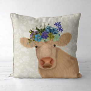 Bohemian Curly Cow pillow front view