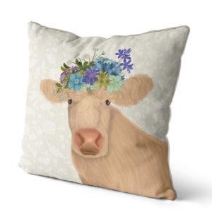 Bohemian Curly Cow pillow side view