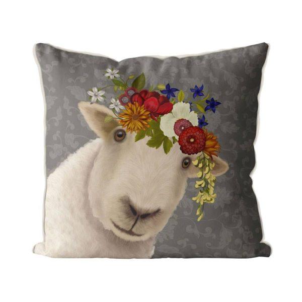 Bohemian Sheep pillow in grey front view