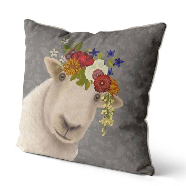 Bohemian sheep pillow in grey side view