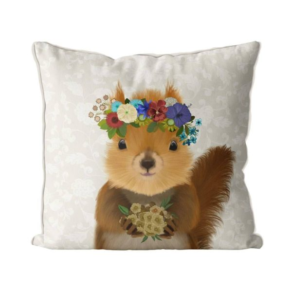 Bohemian Squirrel pillow front view
