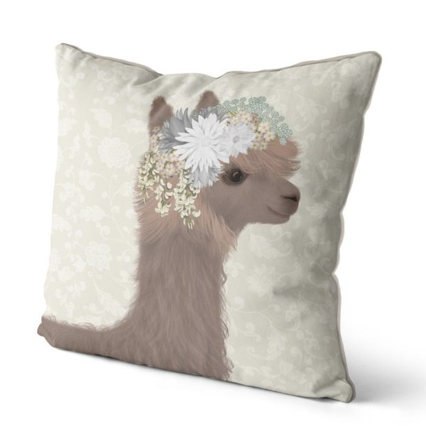 Llama with floral crown pillow side view