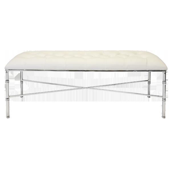 Stella White & polished nickel upholstered bench