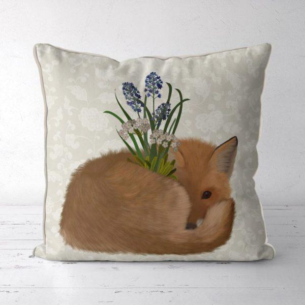 Sleepy Fox pillow front view