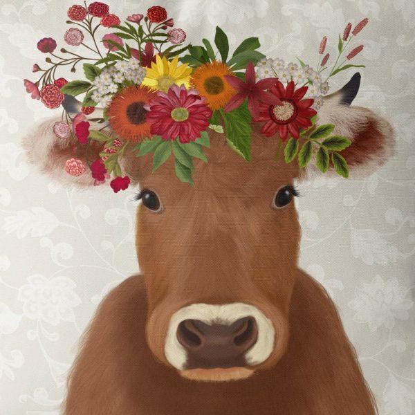 Farmhouse cow with cream background closeup