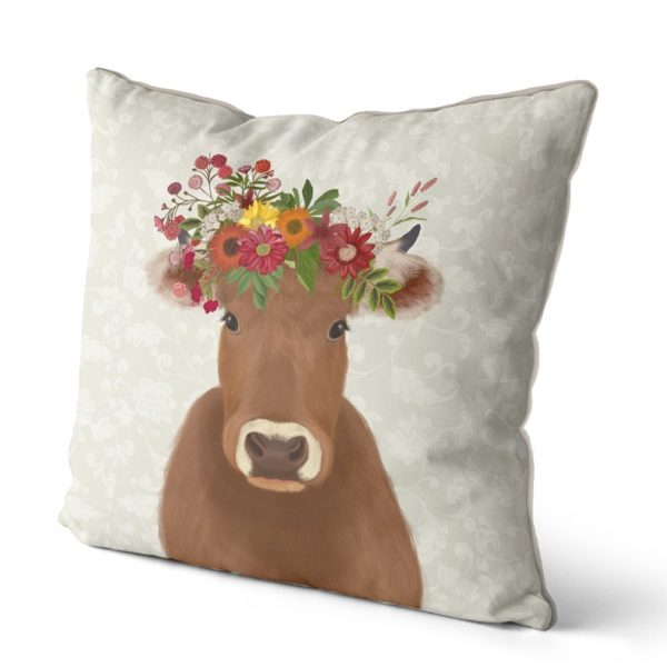 Farmhouse Cow with cream background side view