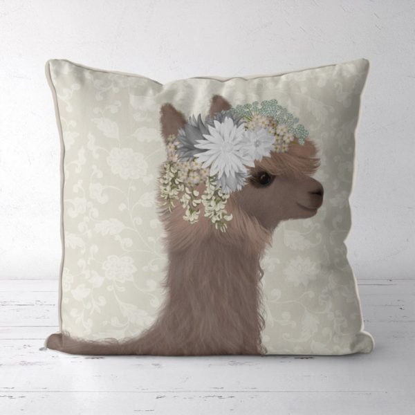 Llama with floral crown pillow front view